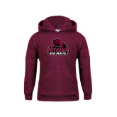 Youth Maroon Fleece Hoodie-Potsdam Bears - Official Logo