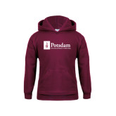 Youth Maroon Fleece Hoodie-Potsdam University Mark - Flat