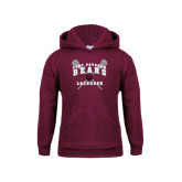 Youth Maroon Fleece Hoodie-Lacrosse Crossed Sticks Design