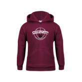Youth Maroon Fleece Hoodie-Basketball in Ball Design