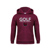 Youth Maroon Fleece Hoodie-Golf Design