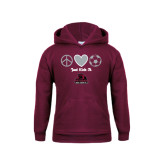 Youth Maroon Fleece Hoodie-Just Kick It Soccer Design