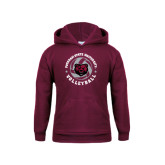 Youth Maroon Fleece Hoodie-Volleyball Circle Design