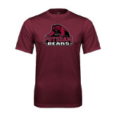 Performance Maroon Tee-Potsdam Bears - Official Logo