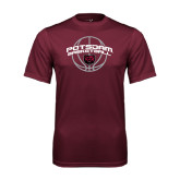 Performance Maroon Tee-Basketball in Ball Design