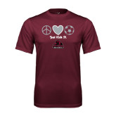 Performance Maroon Tee-Just Kick It Soccer Design