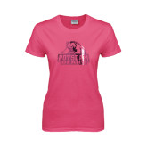 Ladies Fuchsia T Shirt-Potsdam Bears - Official Logo Foil