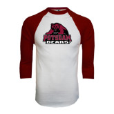 White/Maroon Raglan Baseball T Shirt-Potsdam Bears - Official Logo
