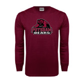 Maroon Long Sleeve T Shirt-Potsdam Bears - Official Logo