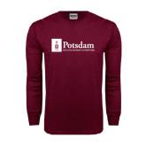 Maroon Long Sleeve T Shirt-Potsdam University Mark - Flat