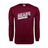 Maroon Long Sleeve T Shirt-Slanted Potsdam State University Bears w/ Bear Head