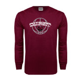 Maroon Long Sleeve T Shirt-Basketball in Ball Design