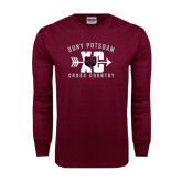 Maroon Long Sleeve T Shirt-Cross Country Design