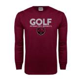 Maroon Long Sleeve T Shirt-Golf Design