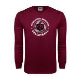 Maroon Long Sleeve T Shirt-Volleyball Circle Design