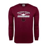 Maroon Long Sleeve T Shirt-Swimming Design