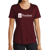 Ladies Performance Maroon Tee-Potsdam University Mark - Flat