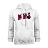White Fleece Hoodie-Slanted Potsdam State University Bears w/ Bear Head