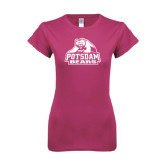 Ladies SoftStyle Junior Fitted Fuchsia Tee-Potsdam Bears - Official Logo