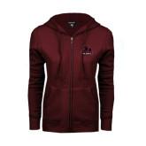 ENZA Ladies Maroon Fleece Full Zip Hoodie-Potsdam Bears - Official Logo