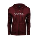 ENZA Ladies Maroon Fleece Full Zip Hoodie-Crane School of Music