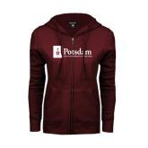 ENZA Ladies Maroon Fleece Full Zip Hoodie-Potsdam University Mark - Flat