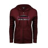 ENZA Ladies Maroon Fleece Full Zip Hoodie-Hockey