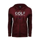 ENZA Ladies Maroon Fleece Full Zip Hoodie-Golf Design