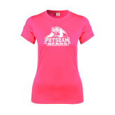 Ladies Performance Hot Pink Tee-Potsdam Bears - Official Logo