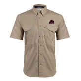 Khaki Short Sleeve Performance Fishing Shirt-Potsdam Bears - Official Logo
