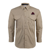 Khaki Long Sleeve Performance Fishing Shirt-Potsdam Bears - Official Logo