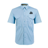 Light Blue Short Sleeve Performance Fishing Shirt-Potsdam Bears - Official Logo Tone