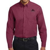 Maroon Twill Button Down Long Sleeve-Potsdam Bears - Official Logo