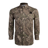Camo Long Sleeve Performance Fishing Shirt-Potsdam Bears - Official Logo Tone