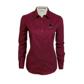 Ladies Maroon Twill Button Down Long Sleeve-Potsdam Bears - Official Logo