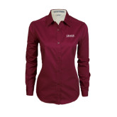 Ladies Maroon Twill Button Down Long Sleeve-Crane School of Music