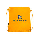 Gold Drawstring Backpack-Pi Kappa Phi Stacked