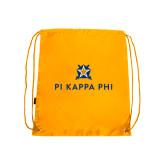 Nylon Gold Drawstring Backpack-Pi Kappa Phi Stacked