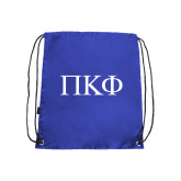 Nylon Royal Drawstring Backpack-Greek Letters