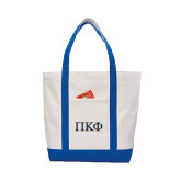 Contender White/Royal Canvas Tote-Greek Letters - 2 Color