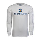 White Long Sleeve T Shirt-Pi Kappa Phi Stacked