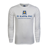 White Long Sleeve T Shirt-Pi Kappa Phi - Exceptional Leaders.Uncommon Opportunities.