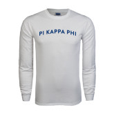 White Long Sleeve T Shirt-Arched Pi Kappa Phi