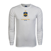 White Long Sleeve T Shirt-Sheild Stacked