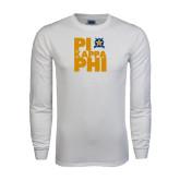White Long Sleeve T Shirt-Big Pi Stacked