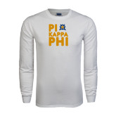 White Long Sleeve T Shirt-Big Pi Round Stacked