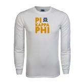 White Long Sleeve T Shirt-Big Pi Round Stacked