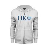 ENZA Ladies White Fleece Full Zip Hoodie-Greek Letters Foil