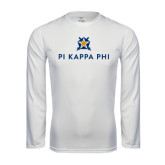 Syntrel Performance White Longsleeve Shirt-Pi Kappa Phi Stacked