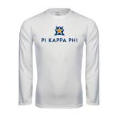 Performance White Longsleeve Shirt-Pi Kappa Phi Stacked